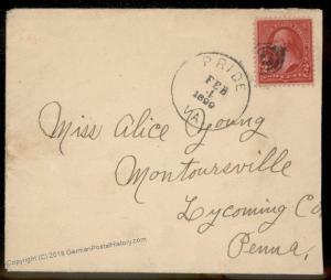 Virginia 1899 Pride VA Cancel DPO Helbock R5 Cover Montoursville PA 92329