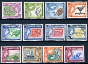 PITCAIRN ISLANDS-1957-63 Set to 2/6 Sg 18-28 LIGHTLY MOUNTED MINT V19561