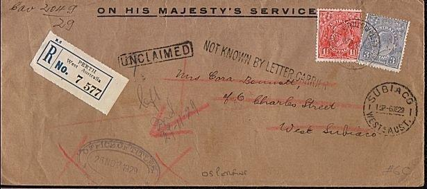 AUSTRALIA 1929 OHMS Reg OS Perfins : Perth to West Subiaco - unclaimed....18247W