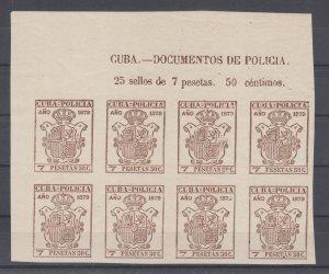 Cuba Jones BP259 MNH. 1879 7.50 Pasetas brown Police Fiscal,  corner block of 8