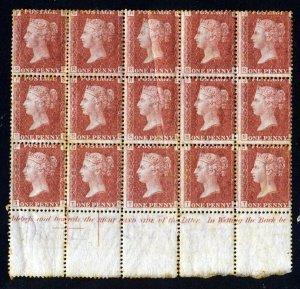GB Queen Victoria 1876 1d Red Plate 198  BLOCK OF FIFTEEN RF-TJ SG 43 MINT & MNH