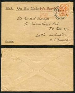 1922 2d with London Official Paid Handstamp