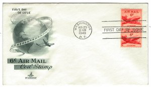 Scott C41 1949 6c Airmail Coil First Day Cover Cat $1.25