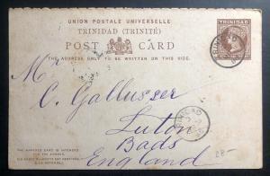 1888 Trinidad & Tobago Stationary Postcard Cover To Luton England