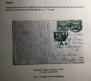 1940 Nijmegen Netherlands Censored Picture Postcard Cover To Laaken Belgium