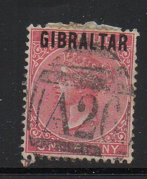Gibraltar Sc 2 1886 1d rose Victoria stamp used