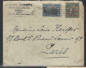 CHILE  (P3108B) 1911   CENT 5C+JUAN FERNANDEZ 10C ON COVER SANTIAGO TO FRANCE