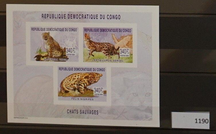 S0 1190 Wild Animals Congo MNH 2002 Swild cat, Serval Imperforated
