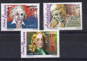 Einstein Newton Aristotle science Nobel Physic URUGUAY Sc#1627/9 MNH STAMP cv$12
