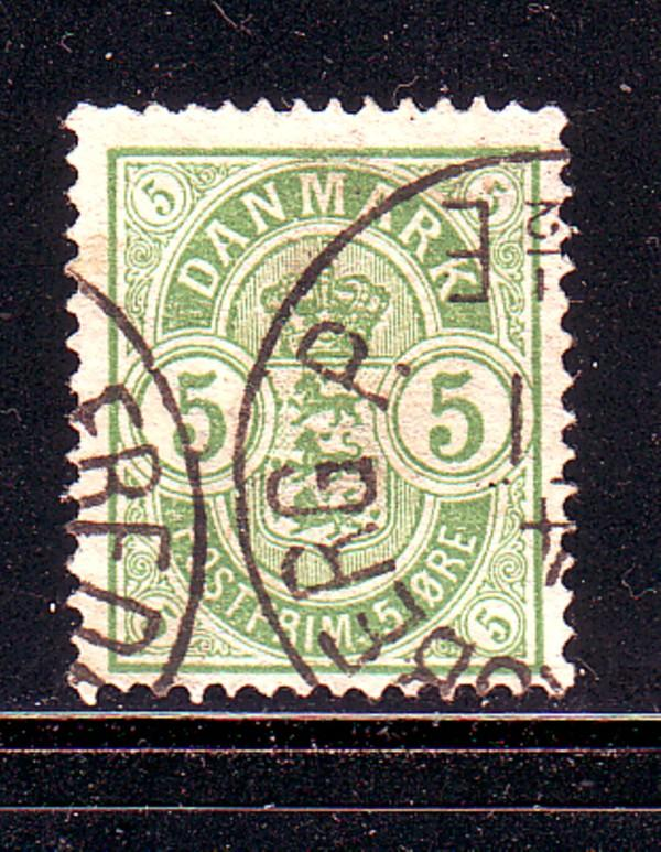 Denmark Sc 38 1884 5 ore green Arms stamp used