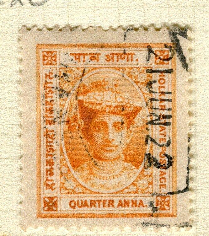 INDIA;  INDORE 1904 early Holkar III issue fine used 1/2a. value
