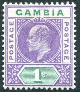 GAMBIA-1902 1/- Violet & Green Sg 52 MOUNTED MINT V32316