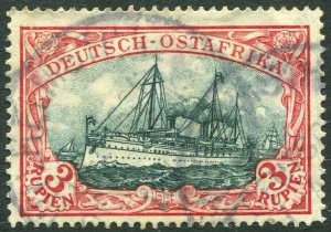 GERMAN EAST AFRICA-1905-20 3r Blue-Black & Red Sg 44 FINE USED V35076