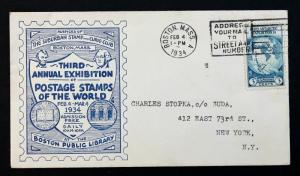 US Stamp Sc# 733 on Cover 3rd Annual Exhibition Postage Stamps of the World 1934