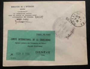 1942 France Concentration Internment Camp Brens Guard Chief Cover To Redcross
