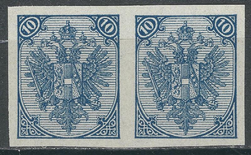 AUSTRIA  OLD BOSNIA TYPOGRAPHY II plate IMPERFORATE  PROOF KREUZCHEN TYPE PAIR