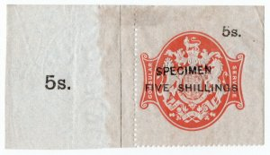 (I.B) QV Revenue : Consular Service 5/- (specimen)