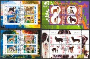 {g102} Congo Malawi 2010 2013 Dogs 4 sheets Used / CTO Cinderella