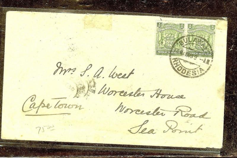 RHODESIA (P1210B) ARMS 1/2D PAIR COVER BULAWAYO TO CAPE TOWN