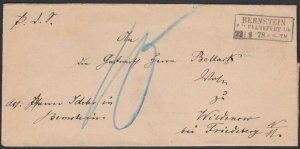 POLAND 1878 Cover - folded official wrapper BERNSTEIN TO FRIEDEBERG.........G213