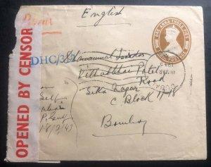 1943 India Post Office Dubai United Arab Emirates Censored Cover To Bombay