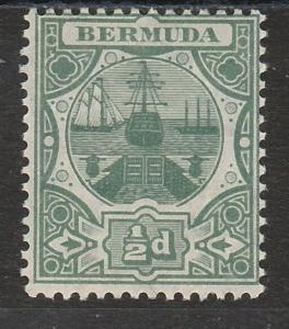 BERMUDA 1906 DRY DOCK 1/2D WATERMARK MULTIPLE CROWN CA