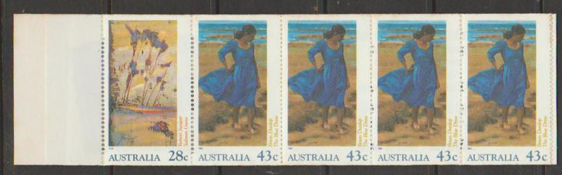 Australia SG 1269ba booklet  with pane imperf /  Perf 15½  toning on top margin