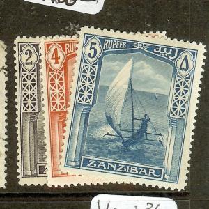 ZANZIBAR (P0910B) BOAT  SG256,  258-9  MOG