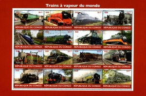 Congo 2017 Trains, Railways Locomotive Transports 16v Mint Full Sheet. (L-24)