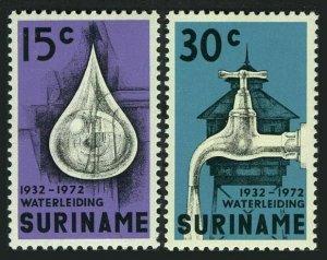 Surinam 395-396,MNH.Michel 616-617. Suriname Water work,40th Ann.1972.Faucet,
