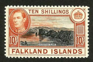 Falkland Islands 1938 SG162 10 shilling  mint lmm