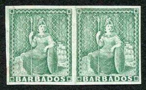 Barbados SG21b (1/2d) blue-green no wmk worn plate Imperf Horizontal PAIR