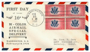 Scott CE2 1936 16c Air Post Special Delivery First Day Cover Cat $20
