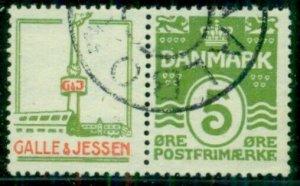 DENMARK (RE44) 5ore green, GALLE & JESSEN advertising pair used
