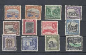 CYPRUS # 125-135 VF-MXXLH KGV 1934 ISSUES COMES WITH WARWICK WARWICK CERT CV$232