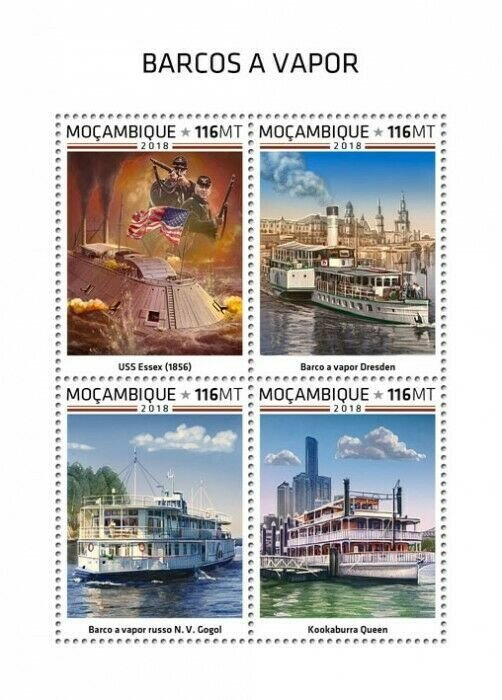 HERRICKSTAMP NEW ISSUES MOZAMBIQUE Steam Boats Sheetlet