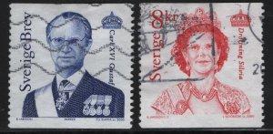 SWEDEN  2397-2398, USED, 2000 King Carl XVI Gustaf