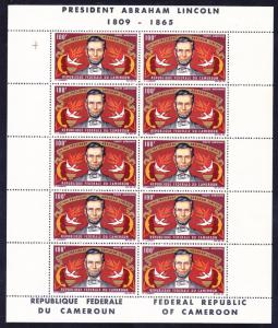 Cameroun C53a MNH 1965 Abraham Lincoln Death Anniversary Sheet of 10 Very Fine