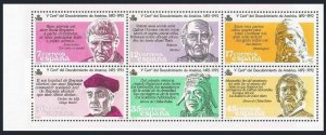 Spain 2491-2496a pane,MNH.Michel 2743-2748. Discovery of America.Men.1986.