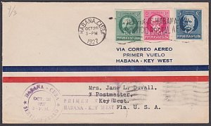 CUBA 1927 first flight cover Havana to Key West Florida.....................P161