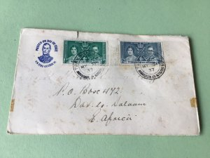 Turks and Caicos Islands 1937 Registered 1st  day issue Postal cover  Ref R32589