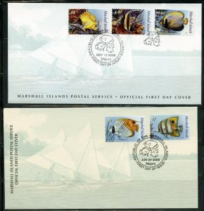 MARSHALL ISLANDS MAY 12, 2008  FISH DEFINITIVES ON TWO  FIRST DAY COVERS