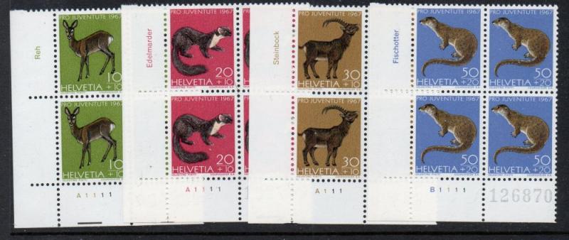 Switzerland Sc B370-3 1967 Animals Pro Juventute stamp set mint NH Blocks of 4