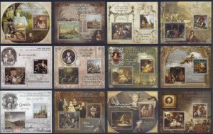 PE 2013 IVORY COAST ART GREAT PAINTERS & PAINTINGS ROCOCO NEOCLASSICISM 12BL MNH