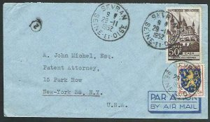 FRANCE 1952 Airmail cover to USA - nice franking...........................58134