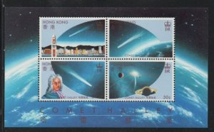 Hong Kong Sc 464a 1986 Halley's Comet stamp souvenir sheet mint NH