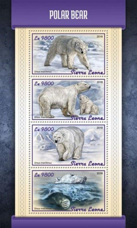 Sierra Leone - 2018 Polar Bears on Stamps - 4 Stamp Sheet - SRL18112a