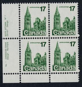 Canada 790 BL Block Plate 1 MNH Parliament Building