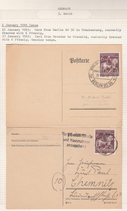 Germany - 1945 Count Anton Gunther Postal History collection on Album pages