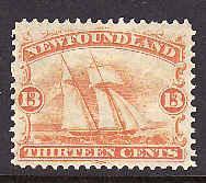 Newfoundland  #205 - Scott cat. #30 - 13c orange - unused hinged - Ship -
